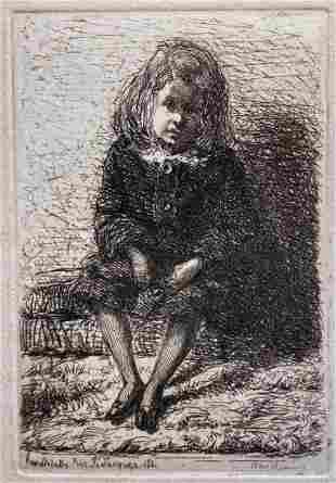 Whistler etching,Little Arthur,c1858