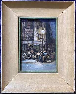 Watercolor by Frank Di Gioia, figures, street lamp