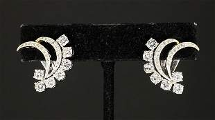 14k gold and diamond ear clips, c1950, 4.75dwt