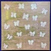 Painting by Hunt Slonem, Pink Butterflies 2009