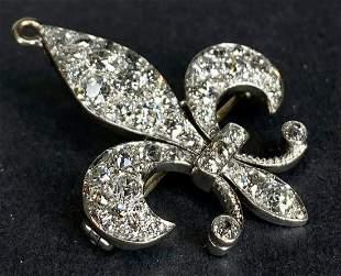 18k diamond fleur de lis brooch, c1880, 4.45dwts