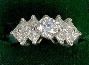Platinum diamond engagement ring, modern, 5.45 dwts