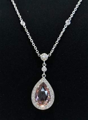 18k tourmaline diamond necklace,GIA, 3.95dwts