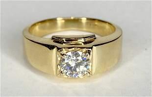14k .64ct diamond mans ring.GIA, 4.45dwt