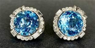 Platinum,14k diamond aquamarine earrings, 11.75dwt(GIA)