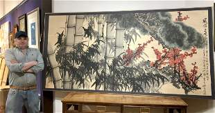 Huge Chinese bamboo painting by Zhong Cheng