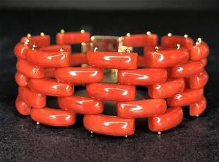 18k gold and coral bracelet, GIA