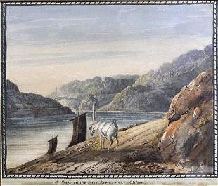 Watercolor of horse along River Avon,c1790