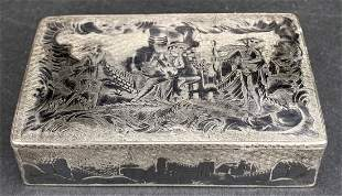 19thc Russian silver niello snuff box, Moscow, 3.215ozt