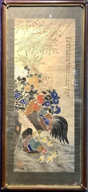 Rooster scroll by Fujiwara Seppo,19th cen