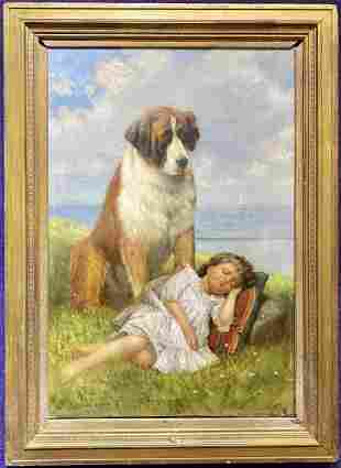 Painting by C. Dillworth(?), St Bernard and girl