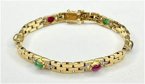 14k diamond bracelet with colored stones,13 dwts