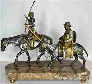 Gilt bronze statue, Don Quixote and Sancho,c.1940