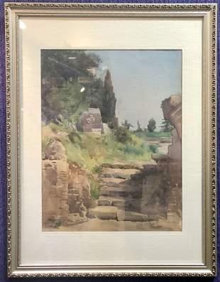Watercolor of stone walk in park, c.1920