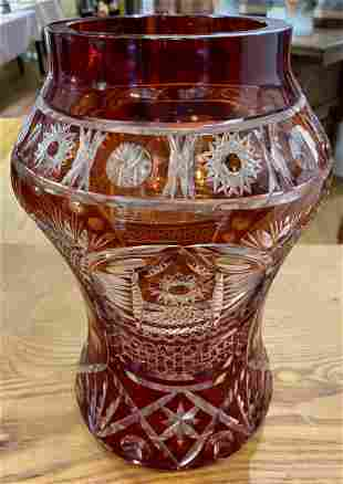 Czech cut to clear ruby vase, c.1940