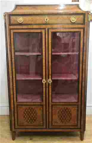 French inlaid marble top cabinet