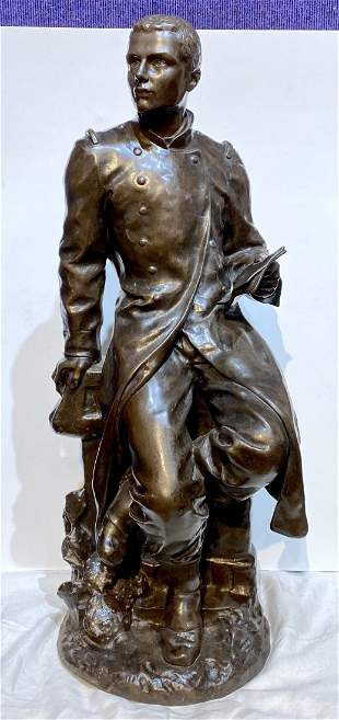 19th cen bronze by Paul Roger-Bloche, The Letter