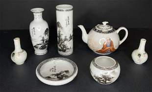 Misc black & white Chinese porc items (7)