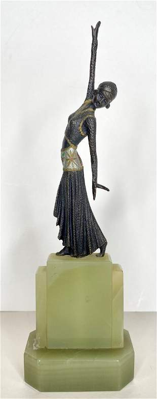 Bronze of dancer with onyx base, c1940