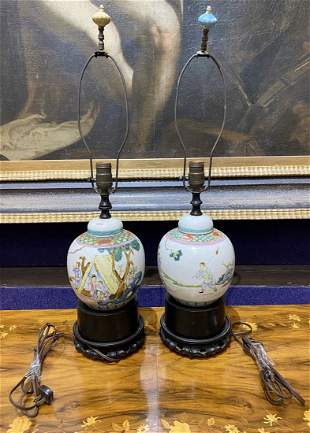Pair of Chinese porcelain ginger jar lamps, c1940