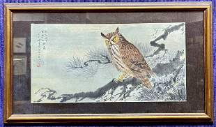 Chinese watercolor of an owl by Li (Lee)
