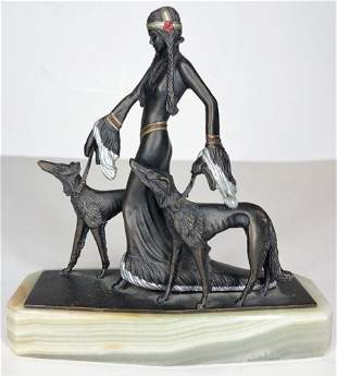 Art Deco statue w/ two dogs, onyx base, c1940