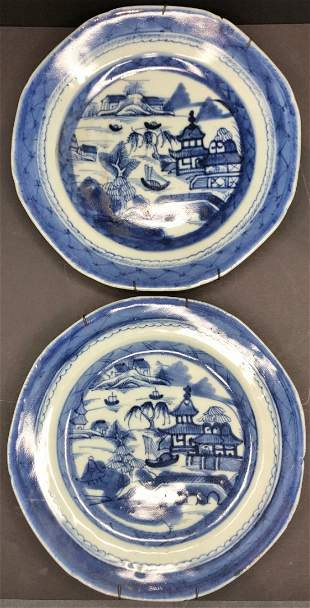 Two Chinese blue & white porcelain plates