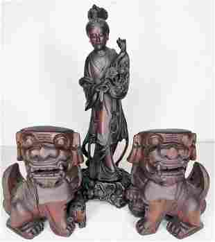 Chinese wood carvings, Guanyin & foo dogs