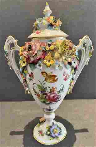 Royal Vienna covered vase with handles, flowers,c1900