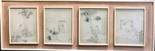 Four Chinese watercolors,signed Jing Zhi or Jing Shi.