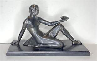 Art Deco Egyptian statue with Foundry mark