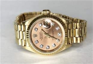 18k diamond Rolex oyster perpetual datejust watch