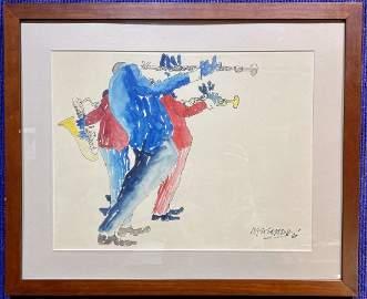 Original watercolor by Leo Meiersdorff, Jazz Trio,1968