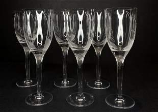 Six Lalique angel champagne flutes