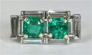 18k emerald baguette diamond ring