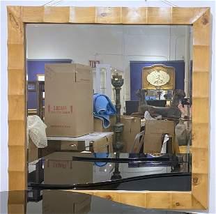Large square wood mirror