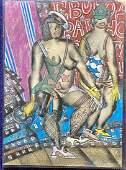 Lebedev pastel drawing of two ladies with guns
