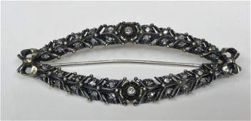 14k gold and silver rose cut diamond brooch,c.1930