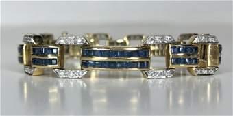 18k diamond and sapphire bracelet, 15.45 dwts