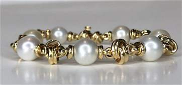 18k gold and pearl bracelet, Italy, 22.05 dwts