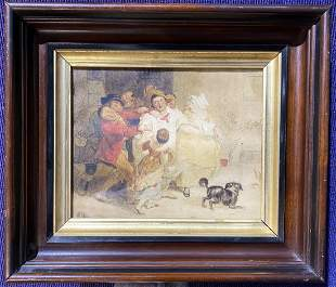 18th/19th century watercolor of crowd with dog