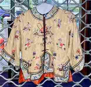 Chinese silk embroidered shirt with flowers