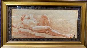 Nude drawing,Charles J Natoire,signed & dated 1721