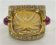 18k diamond ruby and carved citrine ring, 9.65dwts