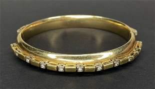 14k gold and diamond bangle bracelet, 13.65dwts