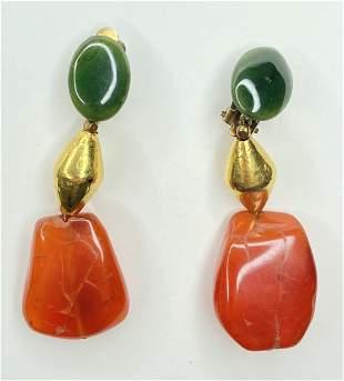 22k & silver, carnelian and jade earrings