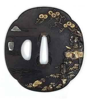 Iron and gold tsuba, Samurai in woods, c.1900