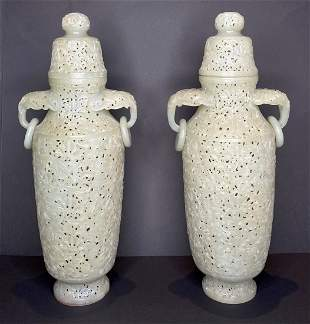 Pair of Chinese carved jade covered vases,c.1950