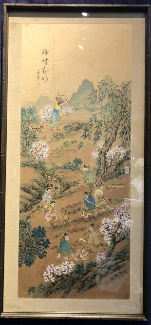 Korean painting of mountainside by Gendo,c1950