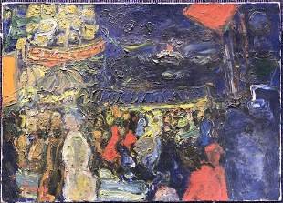 Painting of carnival by Jean Fusaro(French b.1925)